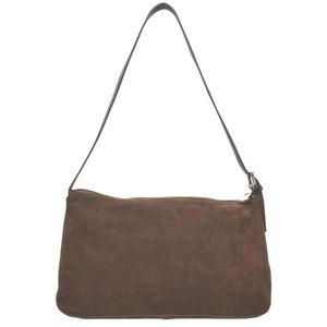 Furla Dark Leather Brown Suede Shoulder Bag